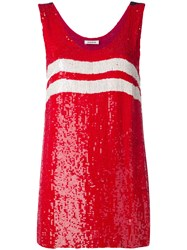 P.A.R.O.S.H. Striped Sequin Tank Top Women Viscose Pvc S Red