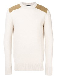 A.P.C. Contrast Patch Sweater Nude And Neutrals