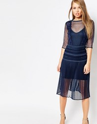 Body Frock Louisa Sculpting Dress With Pleat Skirt And Lace Navy