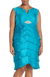 Plus Size Women's London Times Embellished Flutter Tier Notch Neck Sheath Dress