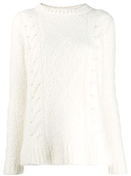 The Elder Statesman Relaxed Fit Cable Knit Jumper White