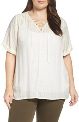 Lucky Brand Plus Size Women's Lace Up Top