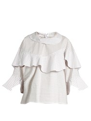 A.W.A.K.E. Funnel Neck Ruffled Checked Cotton Shirt White