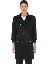 Givenchy Cotton Canvas Trench Coat Blue