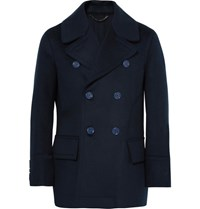 Burberry Double Breasted Virgin Wool Peacoat Navy