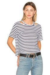 Lna Stripe Cut Out Crop Tee Navy