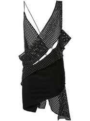 Anthony Vaccarello Woven Asymmetric Dress Black