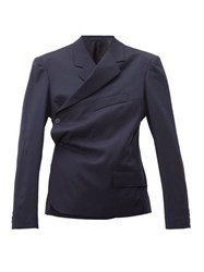 Martine Rose Double Breasted Wrap Wool Twill Blazer Navy