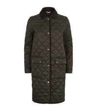 Barbour Quilted Border Long Jacket Female Green