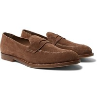 Brunello Cucinelli Suede Penny Loafers Brown
