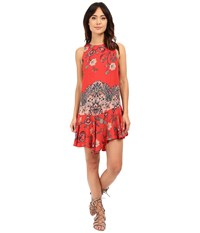 Free People Printed Dobby Dot Flouncy Hem Slip Vintage Red Combo Women's Dress