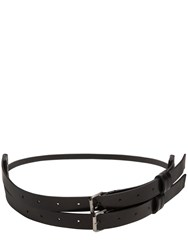 Ann Demeulemeester High Waisted Double Buckle Leather Belt