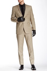 Ben Sherman Kings Fit Tan Solid Peak Lapel Two Button Wool Suit Brown