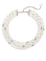 Stephen Dweck Jaipur 6Mm White Button Pearl 12Mm White Coin Pearl And Sterling Silver Five Strand Necklace