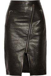 Mason By Michelle Mason Zip Embellished Leather Skirt Black