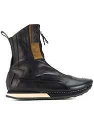 Artselab Front Zip Ankle Boots Leather Rubber Black