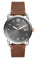 Fossil Commuter Leather Strap Watch 42Mm Brown Grey Silver