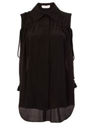 Chloe Drawstring Sleeveless Blouse Black