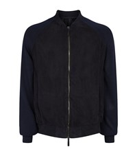 Giorgio Armani Perforated Knitted Sleeve Bomber Jacket Male Navy