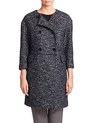 Eleventy Pleat Detail Collarless Double Breasted Coat Navy