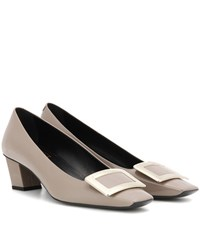 Roger Vivier Decollete Belle Patent Leather Pumps Grey