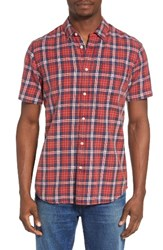 Rvca Men's Sid Short Sleeve Woven Shirt Pompei Red