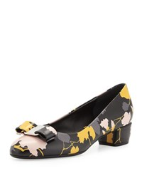 Salvatore Ferragamo Vara Floral Leather Low Heel Pump Black Nero Base