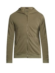 Atm Anthony Thomas Melillo Zip Through Hooded Cotton Sweatshirt Green