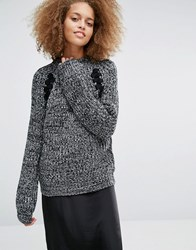 J.O.A Oversized Chunky Jumper In Space Yarn With Lace Up Detail Grey