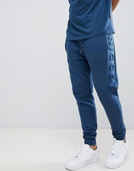 Nicce London Emboss Skinny Joggers In Blue