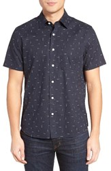 Jack Spade Men's Trim Fit Print Linen Blend Sport Shirt