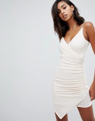 Missguided Cami Wrap Slinky Mini Dress In Cream Beige