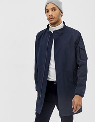 Selected Homme Technical Bonded Trench Coat With Storm Features Navy