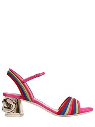 Casadei 50Mm Chained Heel Rainbow Suede Sandals Multicolor