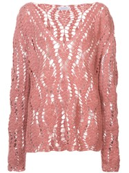 Ryan Roche Crocheted Design Jumper Pink And Purple