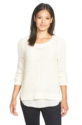Eileen Fisher Boxy Scoop Neck Cotton Blend Sweater Soft White