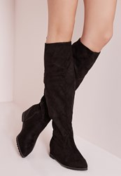 Missguided Pointed Toe Hidden Wedge Long Boots Black Black