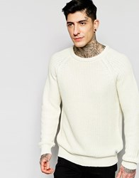 Bellfield Crew Neck Fishermen Cable Knit Jumper White