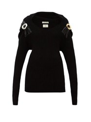 Bottega Veneta Embellished Ribbed Wool Blend Sweater Black