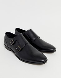 Pier One Monk Shoes In Black Leather