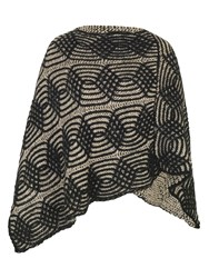 Chesca Cable Knit Poncho Black