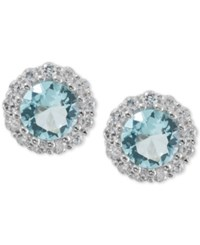 Giani Bernini Sterling Silver Pale Blue Cubic Zirconia Halo Stud Earrings Only At Macy's