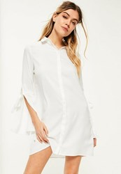 Missguided White Tie Detail Flared Sleeve Shirt Dress
