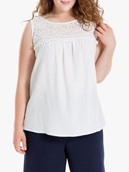 Max Studio Sleeveless Lace Trim Top Off White