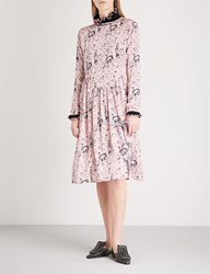 Shrimps Heather Embroidered Silk Satin Dress Rosette Black