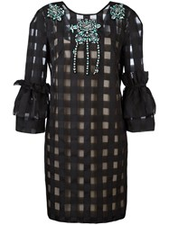 Marco Bologna Grid Puff Sleeve Dress Black