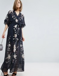 Asos Premium Maxi Dress With Eyelash Lace And Embroidery Navy