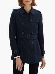 Jaeger Short Cotton Trench Coat Navy