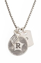 Treasure And Bond Women's Triple Charm Initial Pendant Necklace R Rhodium