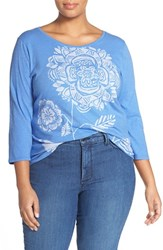 Plus Size Women's Lucky Brand 'Modern Sunflower' Tee Blue Yonder